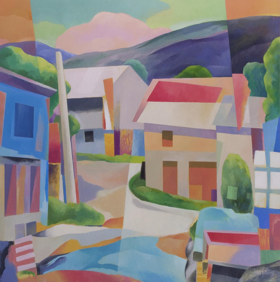 Paisaje, óleo, Arquitectura, Montaña de león, Arte contemporáneo